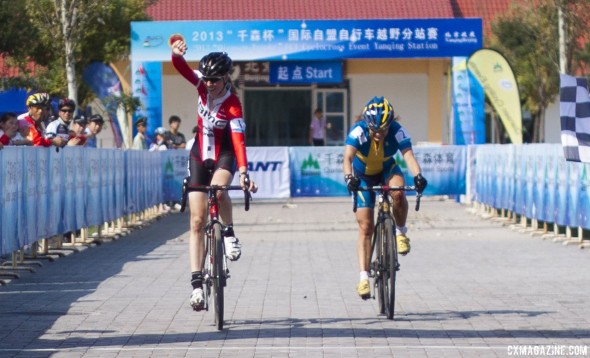Kloppenburg bests Erlandsson in the sprint for the first-ever Chinese UCI win. Qiansen Trophy UCI C2 Cyclocross Event. © Cyclocross Magazine