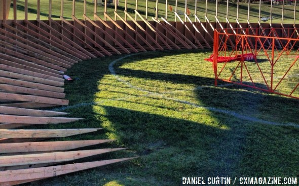 The new bermed turn at CrossVegas 2013. © Cyclocross Magazine