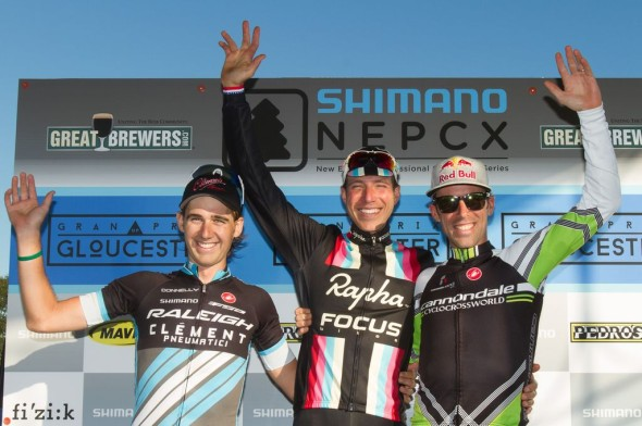 The men's podium at Gloucester Day 1. © Todd Prekaski
