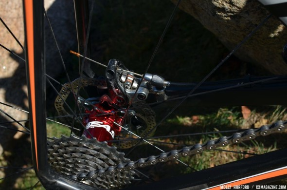 Mechanical discs and SRAM Red on Wyman's Kona. © Cyclocross Magazine