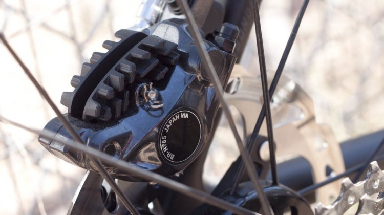 Shimano's new R785 hydraulic disc brake for Di2 levers - the brake of Lars van der Haar this season. © Cyclocross Magazine