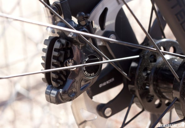 Shimano's new R785 rear hydraulic disc brake caliper on a Felt F1X. © Cyclocross Magazine