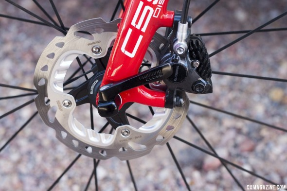 Shimano's new R785 hydraulic disc brake comes with RT-99 rotors with Freeza technology. © Cyclocross Magazine