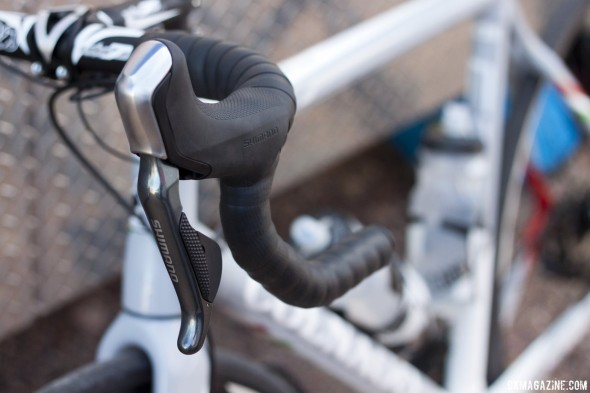 Shimano's new R785 hydraulic disc brake Di2 lever prototype. © Cyclocross Magazine
