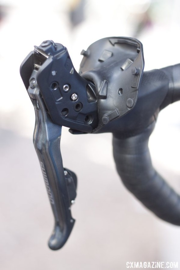 The 6870 Ultegra Di2 lever. The small philips screw is the free stroke adjustment, similar to their M785 XT lever. levers. © Cyclocross Magazine