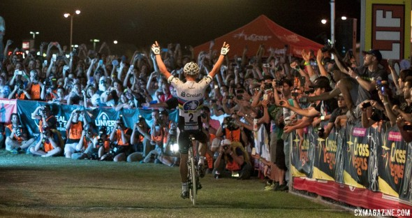 Sven Nys celebrates with his American fans with a commanding win at the Clif Bar Cross Vegas 2013. © Cyclocross Magazine