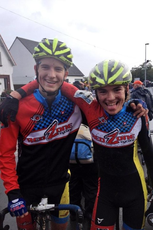 Red Zone teammates post-ride Gavin Haley and Josey Weik in Belgium in 2013. © Matt Weik
