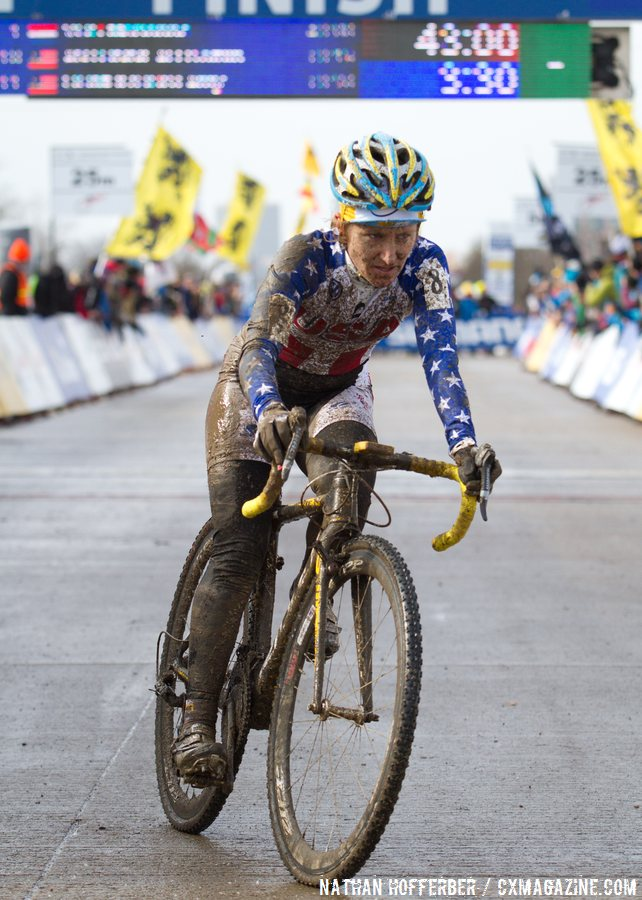 Amy Dombroski living it up at the 2013 World Championships in Louisville. © Nathan Hofferber / Cyclocross Magazine