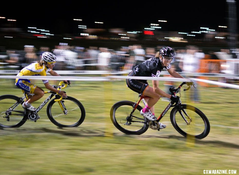Powers leads Dombroski late in the race at CrossVegas 2012. ©Clifford Lee / Cyclocross Magazine