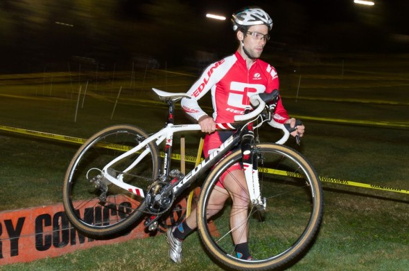 Justin Lindine on the way to defending his title as New England Uphill Grass Crit World Champion