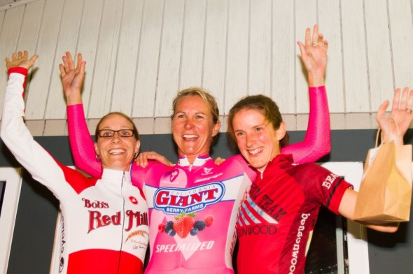 Elite women's podium L-R:  Mo Bruno Roy (Bob's Red Mill p/b Seven Cycles), Meredith Miller (Cal Giant/Specialized), Kate Northcott (Beam Team Racing)