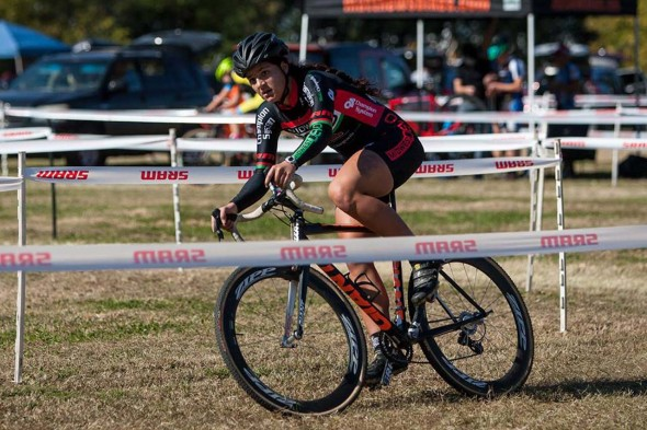 Chloe Dygert soloed away early for the Elite Women's win. © Kent Baumgardt
