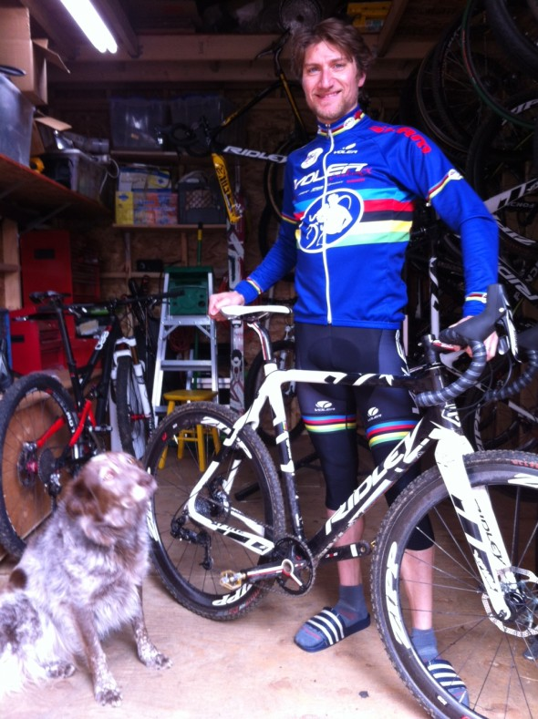 Russ Stevenson gets ride-ready with his trusty sidekick.