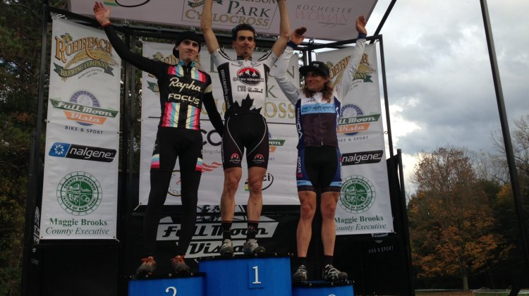 The men's podium at Rochester: Zach McDonald, Raphael Gagne and Anthony Clark (L to R). © Anthony Clark