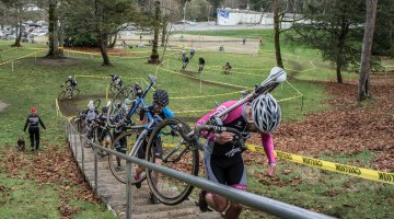 Racers make their way up the massive set of stairs, one of the unique features of the course. © Patrick Burnham