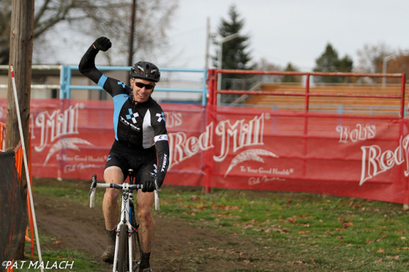 Shannon Skerritt celebrates his win. © Pat Malach