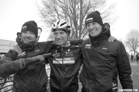 Russell Stevenson and the Boulder Cycle Sport crew of Brandon Dwight and Pete Webber. © Cyclocross Magazine