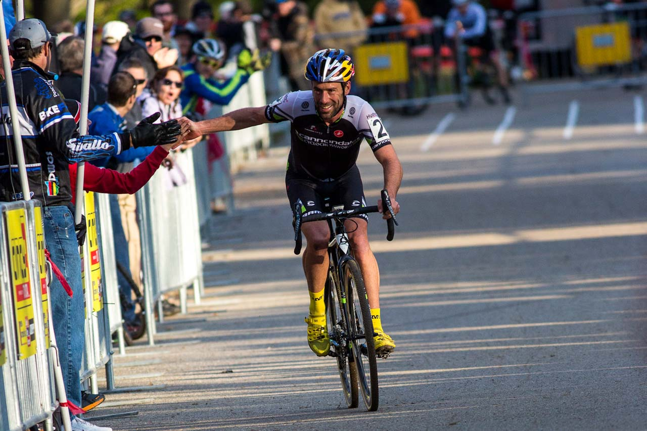 Tim Johnson got his intro to cyclocross from Stu Thorne.. 2013 Cincy3 CX. © Kent Baumgardt