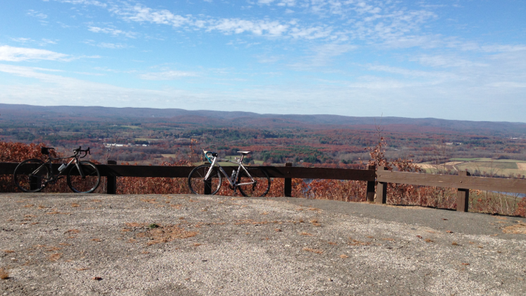 Despite being a solo racer, sometimes Mike mixes fun with training, like this ride up to the top of Mount Tom with friends in Massachusetts. © Cyclocross Magazine