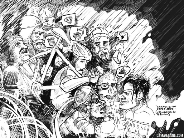 """Heckling can be a fun part of cyclocross, but can be a curse too. """"Carrying the Cross"""" by Sean Horita"""
