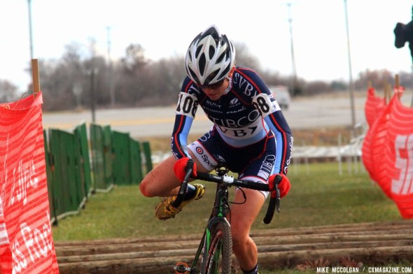 Miller over the logs on the last day of Jingle Cross Rock 2013. © Mike McColgan