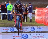 Berden hopping the barriers on the last day of Jingle Cross Rock 2013. © Mike McColgan