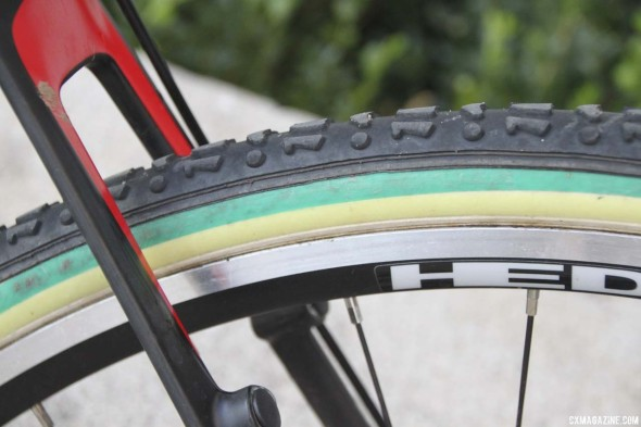Australian National Champion stripes on her FMB SSC tubulars, and canti mounts if she doesn't like discs. © Cyclocross Magazine