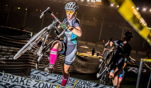 Alexis Ryan made it two in a row at SoCalCross with the Spooky Cross Women's A win. © Philip Backman