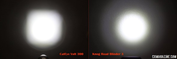 Brighter vs. Wider: CatEye Volt 300 compared to Knog Road Blinder.