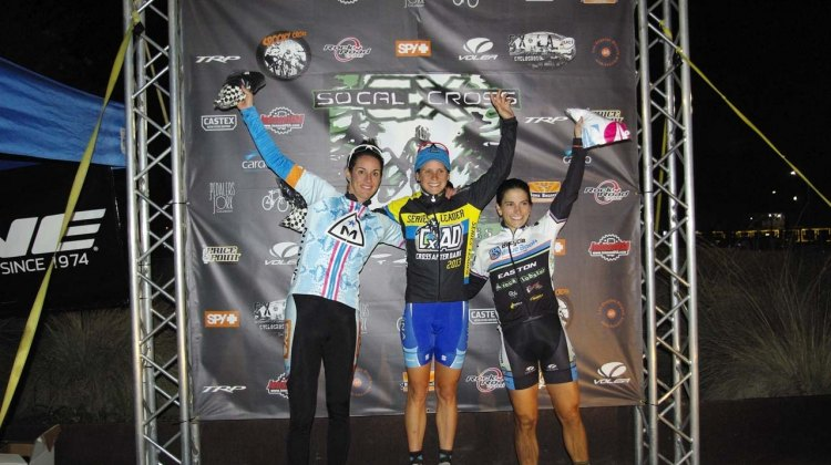 The Elite Women's series podium finishers (L-R): Nicole Duke (Marin-Spy Optic), 2nd; Katerina Nash (Luna Pro Team), 1st; Courtenay McFadden (Bicycle Blue Book/HSR/ Rock Lobster), 3rd. © Kenneth Hill