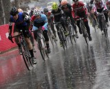 Charging onto the muddy, wet course at the North Carolina Grand Prix. © Marcia Seiler