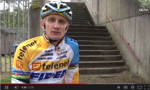 Screenshot: Bart Wellens on how-to run stairs like a cyclocross pro.