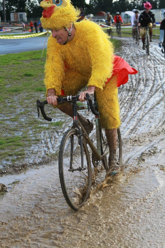 Not a race til someone is in a chicken suit. © Janet Hill