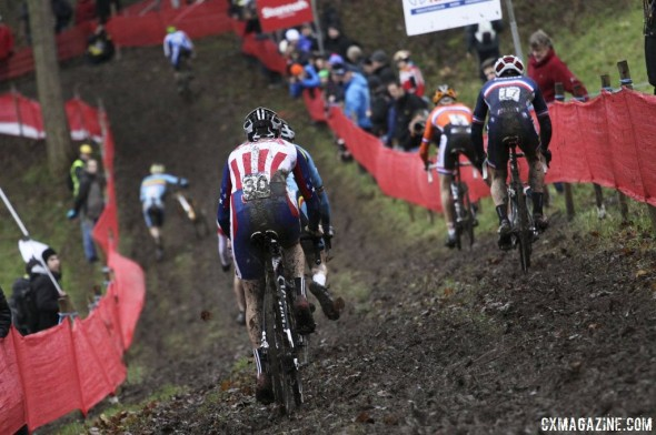 Logan Owen is back in Europe, this time as a first-year U23 racer needing to chase the leaders. © Cyclocross Magazine