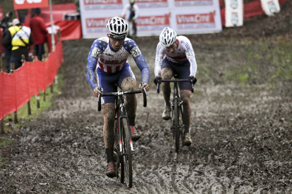 Tobin Ortenblad pushes through the thick mud of Namur at the 2013 World Cup. © Cyclocross Magazine