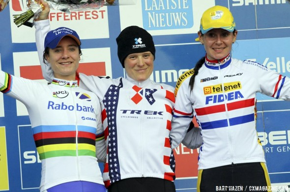 2013 Namur World Cup: Vos, Compton and Harris. © Cyclocross Magazine