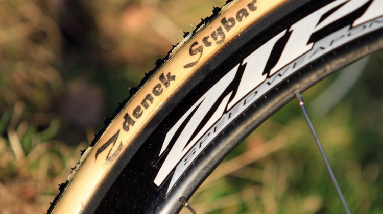Cotton Dugast tubular tires, as used by many of the European pros. This is a 33mm Typhoon.  © Thomas van Bracht / Cyclocross Magazine