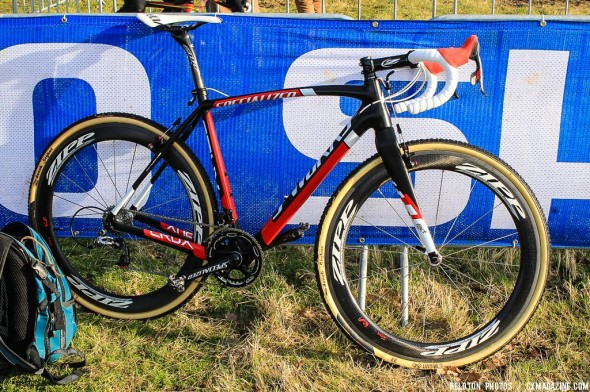 Zdenek Stybar's Specialized S-Worlks Crux cyclocross bike with SRAM Red 10-speed, Zipp 404 wheels and Service Course SL cockpit, and Avid Shorty Ultimate cantilevers. © Thomas van Bracht / Cyclocross Magazine