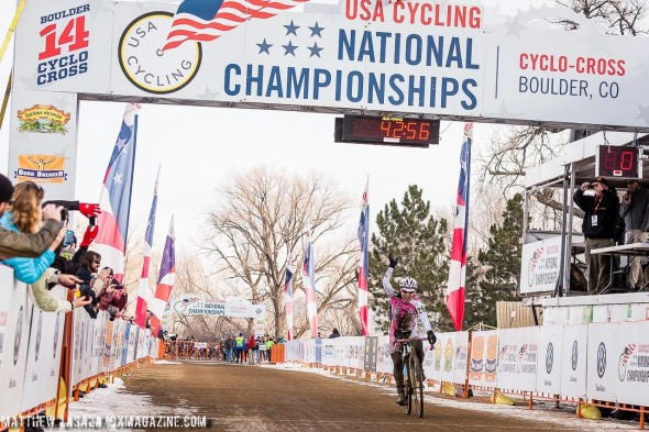 Nina Baum (NoTubes) wins her first Cyclocross National Championship in the Masters 40-44. © Mathew Lasala