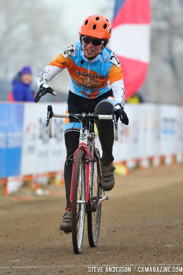 Anne Trombley winning 50-54 and finishing third in the 45-49 race, despite starting a minute back. © Steve Anderson