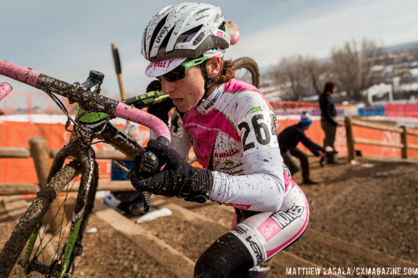 "Nina Baum runs with her ""silly"" ""awkward"" cyclocross bike, but looked comfortable to take the win. © Mathew Lasala"