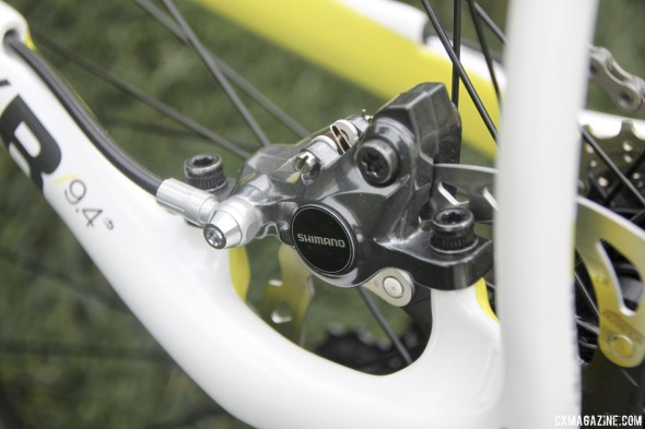 Boardman Bikes is one of the first to ship bikes with the Shimano R785 hydraulic disc brakes. © Cyclocross Magazine