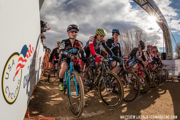 Start line in the Junior 17-18 race at US Nationals 2014. © Matt Lasala