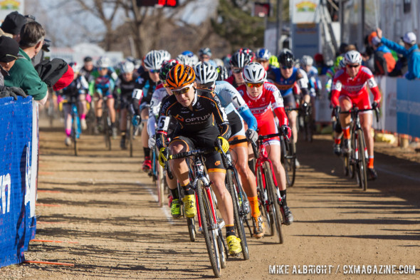 The Elite women's start, with holeshot winner Crystal Anthony. © Mike Albright