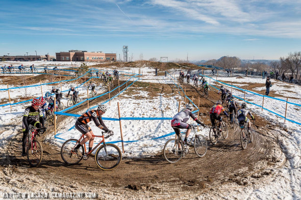The 55-59 men wind around the upper section of the course on Lap One. © Matthew Lasala