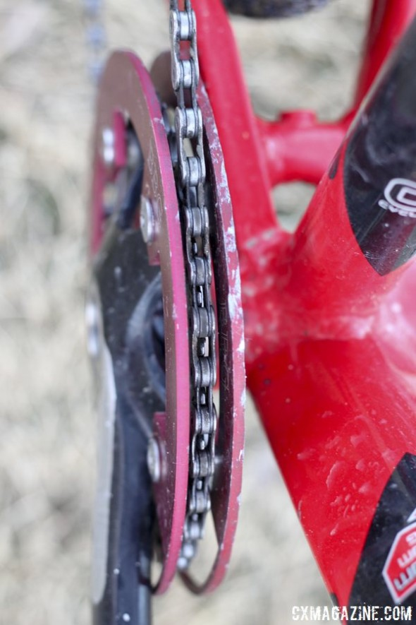 Bashguards sandwich the single chainring to ensure it stays in place. © Cyclocross Magazine