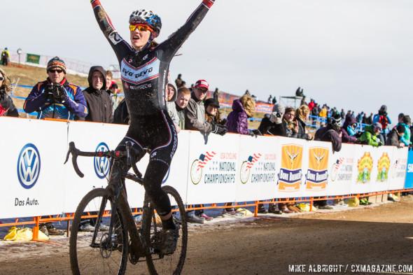 Hannah Arensman taking the 15-16 Women's win at Nationals. © Mike Albright