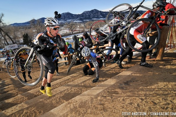 It was congested the first time up the stairs. 2014 Masters 45-49 Cyclocross National Championships. © Steve Anderson