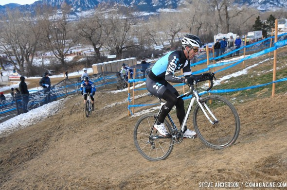 After passing Robson, Faia takes control for good. 2014 Masters 45-49 Cyclocross National Championships. © Steve Anderson