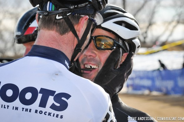 Robson congratulating Faia. 2014 Masters 45-49 Cyclocross National Championships. © Steve Anderson